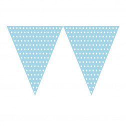 Flaggen Banner Polka Dots blau, weiß 2,74m