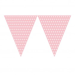 Flaggen Banner Polka Dots rosa,weiß 2,74m
