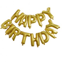 Buchstaben Folienballon Happy Birthday gold 5m