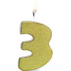 Kerze 3 Glitter Gold