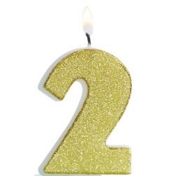 Kerze 2 Glitter Gold
