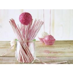 Lolli Sticks für CakePops Rosa gestreift 48 Stück