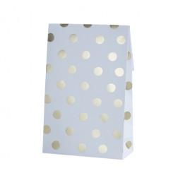 Papiertüten Polka Dots weiß, gold 8 Stück
