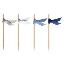 Schleifensticks Bändern Silber Blau 40 Stück