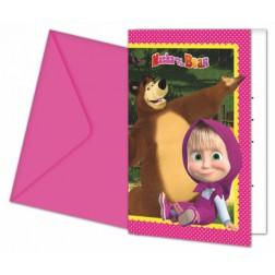 Masha und der Bär Einladungskarten 6 Stück