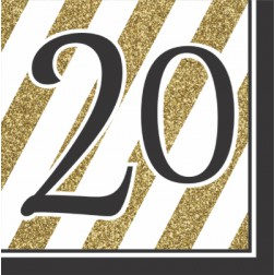 Servietten 20. Geburtstag Black Gold 16 Stück