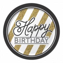 Pappteller Black Gold Happy Birthday 8 Stück