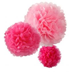 Pom Pom Rosa Pink Fuchsia 3 Set