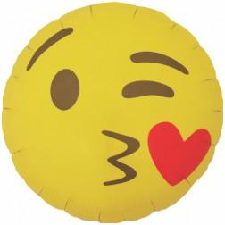 Folienballon Emoji kissing Heart 46cm