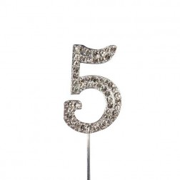 Diamante Zahl Silberstab 5