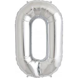 Folienballon Symbol 0 silber 86cm
