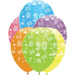 Luftballons Zahl 30 bunt 6 Stück