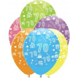 Luftballons Zahl 70 bunt 6 Stück