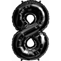 Folienballon Zahl 8 schwarz 86cm