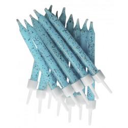 Kerzen pastellblau glitzer 12 Stück