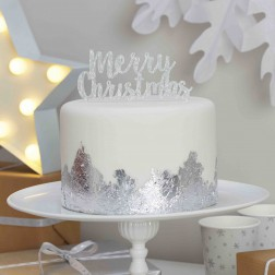 Merry Christmas Cake Topper silber