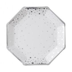 Pappteller Metallic Star silber 8 Stück