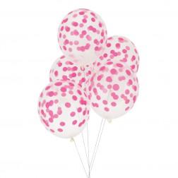 Luftballon durchsichtig mit pink Punkten 5 Stück