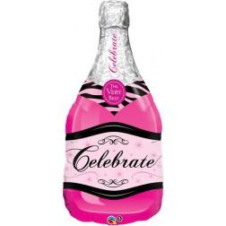 Folienballon Champagne Flasche pink 102cm
