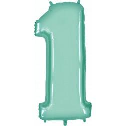 Folienballon Zahl 1 pastellblau 100cm