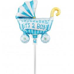 Air Folienballon Kinderwagen blau 36cm