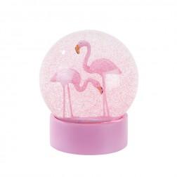 Flamingo Schneekugel rosa 13cm