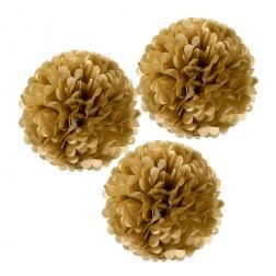 Pom Poms Gold 3 Stück