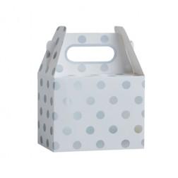 Boxen Polka dots silber 5 Stück