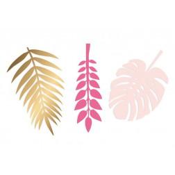 Deko Blätter gold pink 6 Stück