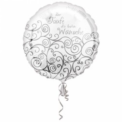 Folienballon zur Taufe silber 43cm