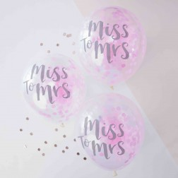 Luftballons Miss to Mrs 5 Stück