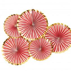 Fächer Rot Gold 5 Stück