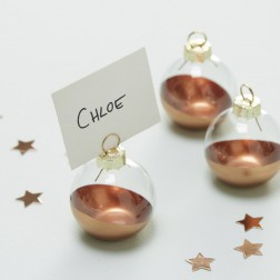 Rose Gold Dipped Glass Bauble Place Card Holders 6 Stück