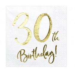 Servietten 30. Geburtstag Gold 20 Stück