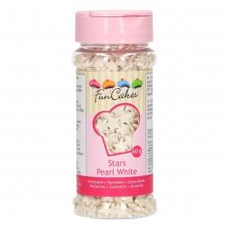 Zuckerperlen Sterne Perlmutt Weiß 60g