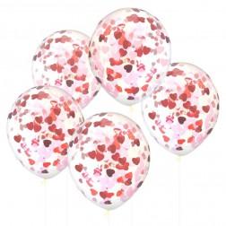 Luftballons mit Herz Konfetti 5 Stück