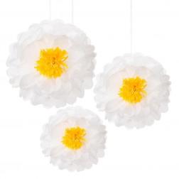 Pom Poms Flower weiß 3 Stück