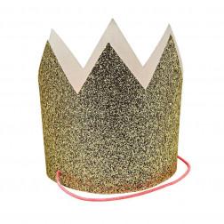 Kronen mini glitter gold 8 Stück
