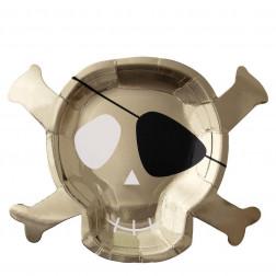 Pappteller Totenkopf 8 Stück