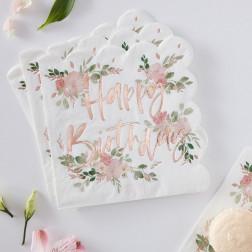 Servietten Floral Birtday 16 Stück
