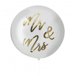 Ballon Orb Mr & Mrs Gold 91cm