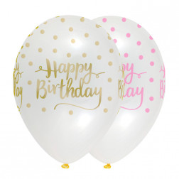 Luftballons Clear Birthday 6 Stück