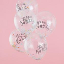Luftballons Konfetti Pastel Birthday 5 Stück