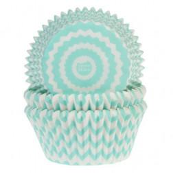Cupcake Formen Chevron Mint 50 Stück