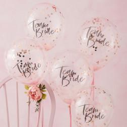 Luftballons Konfetti Team Bride Roségold 5 Stück