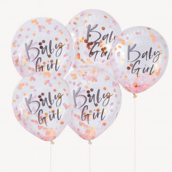 Luftballons Baby Girl Konfetti 5 Stück