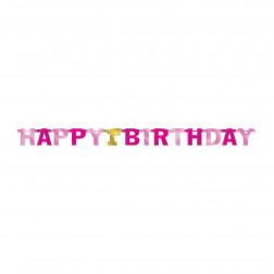 Happy 1st Birthday Banner pink