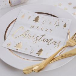 Servietten Merry Christmas gold 16 Stück