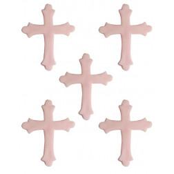 Zuckerdekor Kreuz rosa 5 Stück