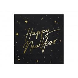 Servietten Happy New Year schwarz 20 Stück